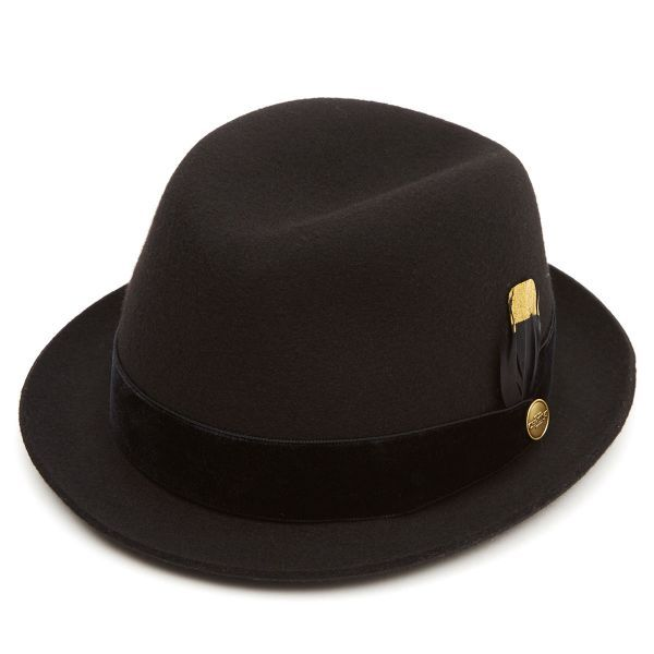 Cheltenham Wool Felt Trilby Hat  - Velvet Band & Gold Feather