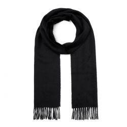 Classic Woven 100% Cashmere Scarf in Black