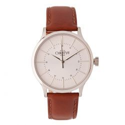 Christys Classic Compton Watch - Silver ~ Brown Band