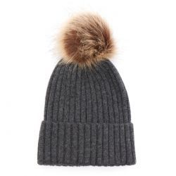Wool/Cashmere blend Pom Ribbed Beanie