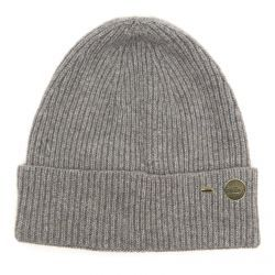 Ribbed Cashmere Beanie Hat - Grey