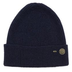 Ribbed Cashmere Beanie Hat - Navy