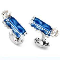 Sterling Silver Blue Golf Bag Cufflinks
