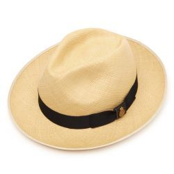 Classic Preset Panama Hat with navy band - Natural