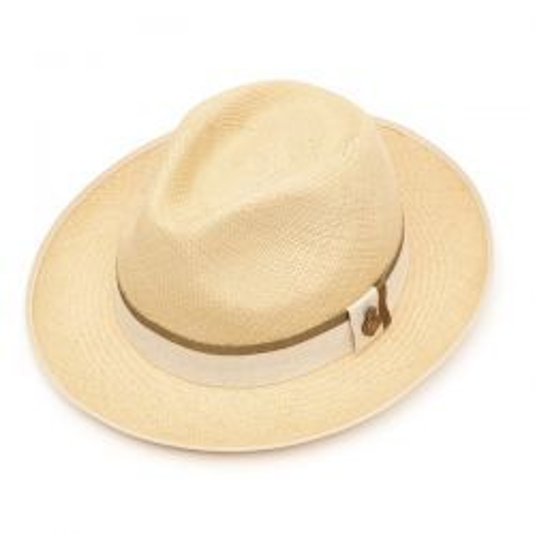 Classic Preset Panama Hat with Khaki Zoe band - Natural