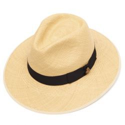 Classic Down Brim Panama Hat with Navy Band - Natural