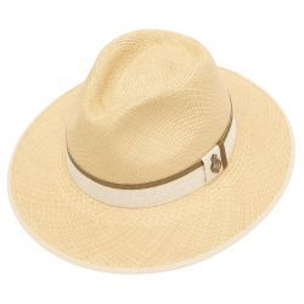 Classic Down Brim Panama Hat with Khaki Zoe Band - Natural