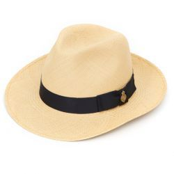 Classic Notting Hill Panama Hat with Navy band - Natural