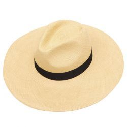 Jessica Wide Brim Panama Hat with Navy Band - Natural