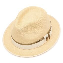 Classic Yorkie Panama Hat with Khaki Zoe ribbon - Natural