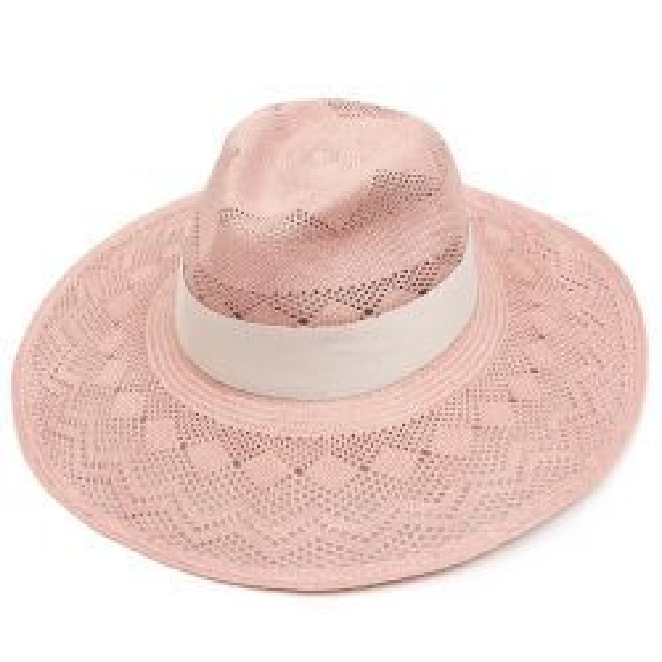 Leila Wide Brim Panama Hat - Lilac