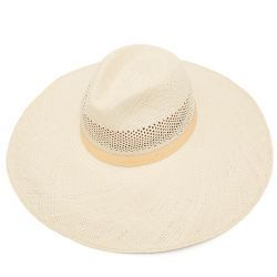 Freya Wide Brim Perforated Panama Hat with Rose Gold Leather -  Stone