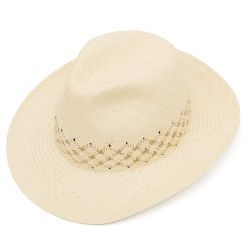 James Weaved Panama Hat - Stone & Khaki