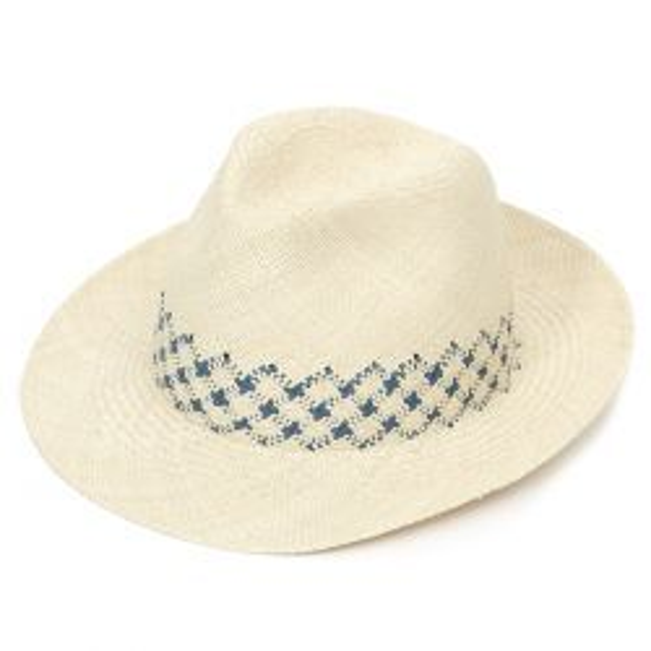 James Weaved Panama Hat - Stone & Blue