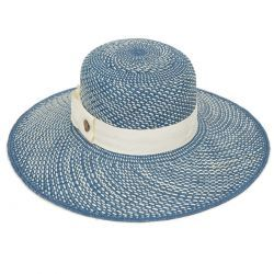 Esme Wide Brim Panama Hat - Gingham Blue