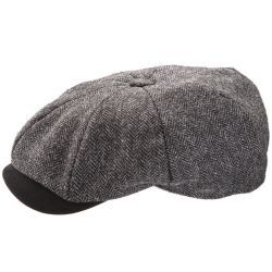 8 Piece Baker Boy Melton Wool Flat Cap with Moleskin Peak - Grey
