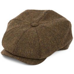 8 Piece Baker Boy Green Herringbone Tweed Flat Cap