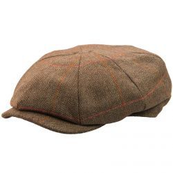 8 Piece Baker Boy Tweed Flat Cap