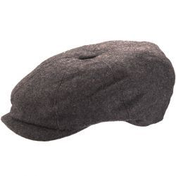 8 Piece Baker Boy Melton Wool Flat Cap - Grey