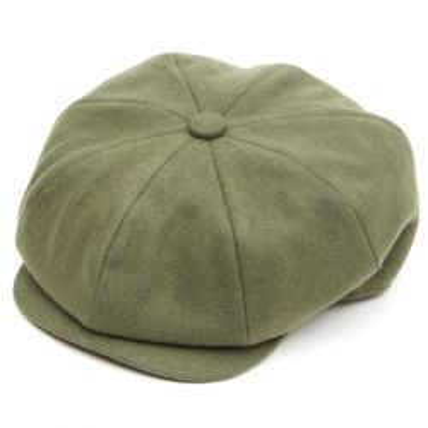 8 Piece Baker Boy Flat Cap - Olive