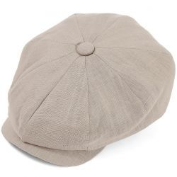 8 Piece Baker Boy Linen Flat Cap - Cloud Grey
