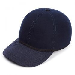 The Kit Ball Cap With Soft Navy Wool Peak - Navy