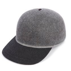 The Kit Ball Cap With Soft Charcoal Wool Peak - Grey Mix