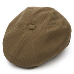 8 Piece Baker Boy Cotton Flat Cap - Sand