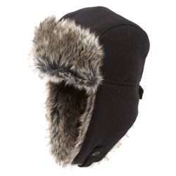 Trapper Melton With Shearling Ears Black