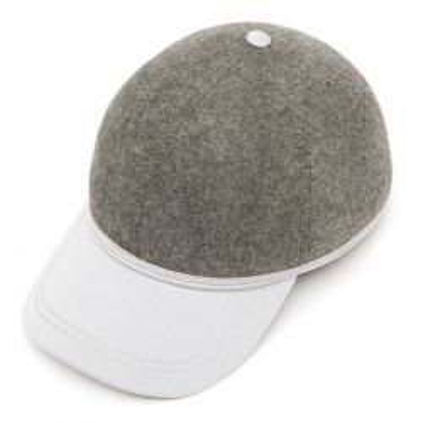 British Ball Cap Satin Wool Peak - Grey Mix