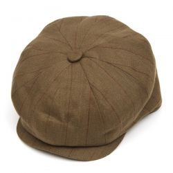 8 Piece Baker Boy Stripped Linen Flat Cap