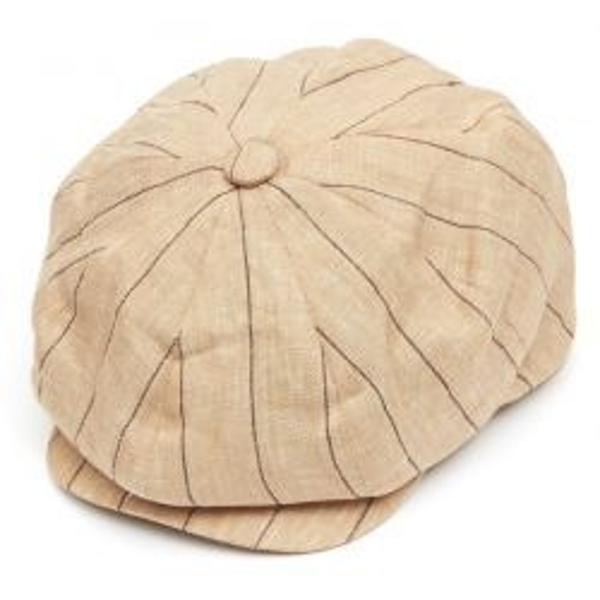 8 Piece Baker Boy Striped Linen Flat Cap - Stone