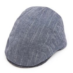 Tailored Driver Flat Cap in Linen Mix - Navy
