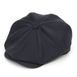 Ellis 8 Piece Satin Wool Flat Cap - Midnight Navy