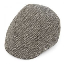 Official Juventus FC Balmoral Grey Herringbone Tweed Flat Cap